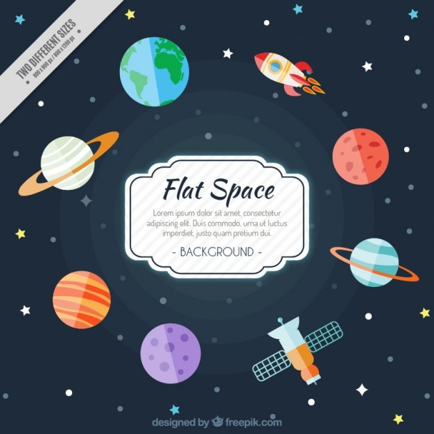 Space background in flat style vector free download for Outer space industrial design