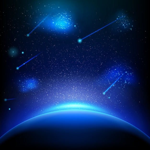 Космический фон с синим светом. Premium векторы
