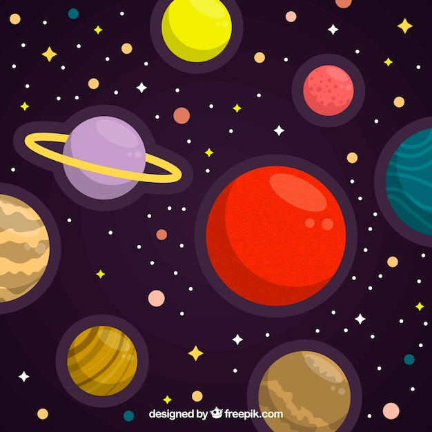 Space background with colorful planets