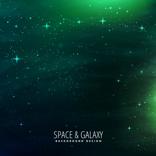 Space background with green lights