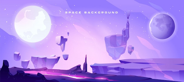Space background with landscape of alien planet Free Vector