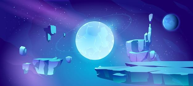 Spazio sfondo con il paesaggio del pianeta Vettore gratuito