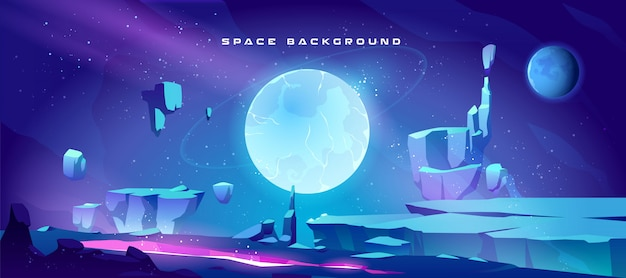 Space background with landscape of planet Free Vector