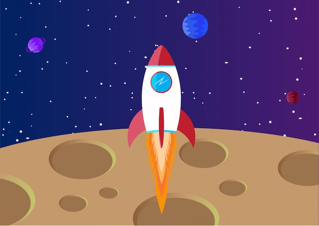 Space background with moon and rocket Premium Vector
