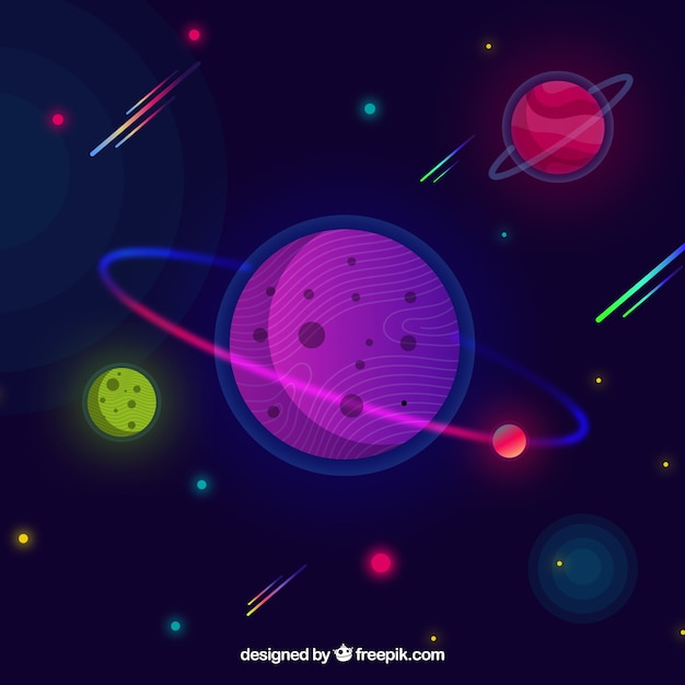 Space Background With Planets In Flat Design Vector