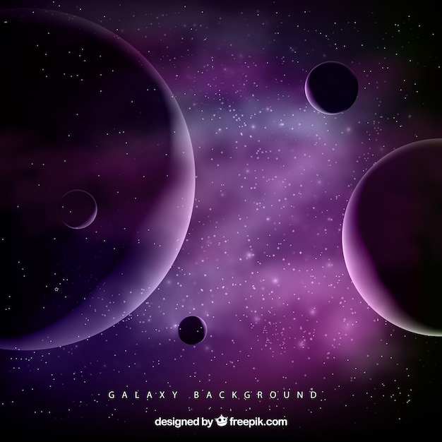 Space background with purple planets