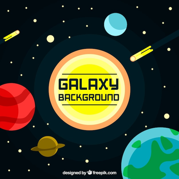 Space background with sun and planets