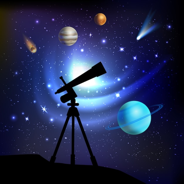 Space background with telescope Free Vector