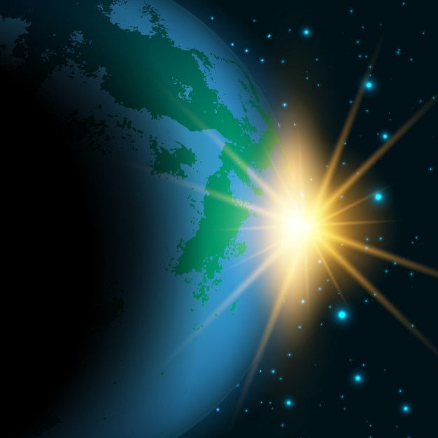 Space background with the sun