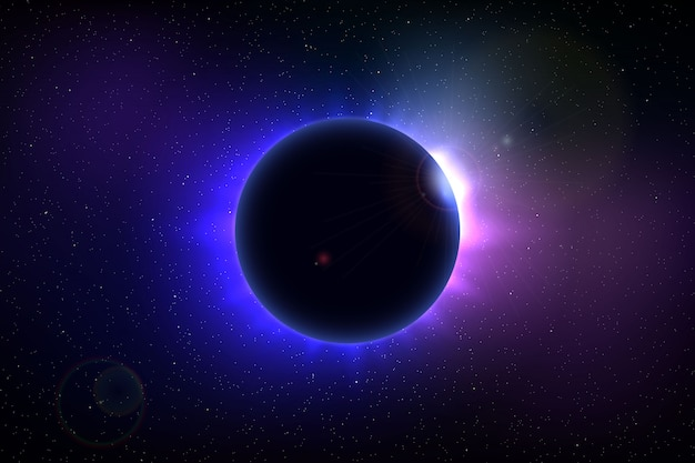 Space background with total solar eclipse Premium Vector