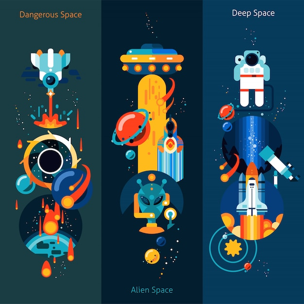 Space banner set Free Vector