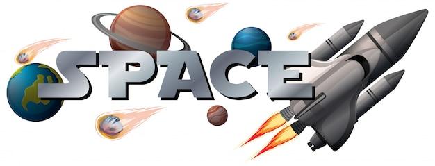 Banner spaziale con il pianeta Vettore gratuito