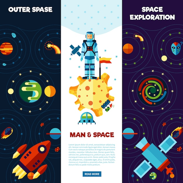 Space banners set Free Vector