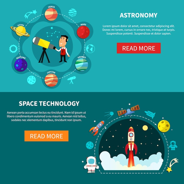 Space banners set Premium Vector