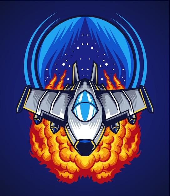 Space battle illustration Premium Vector