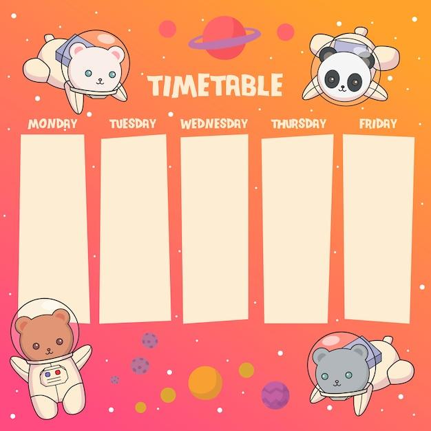 Space bears timetable or weekly planner Premium Vector