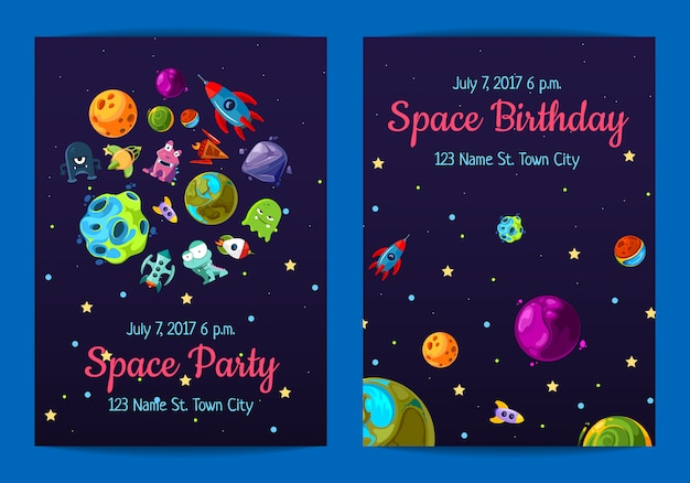 Space birthday party invitation with space elements, planets and ships Premium Vector