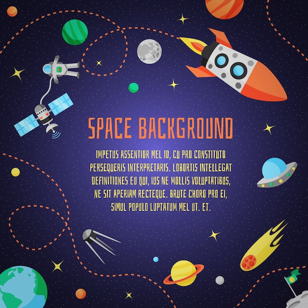 Space cartoon background Free Vector