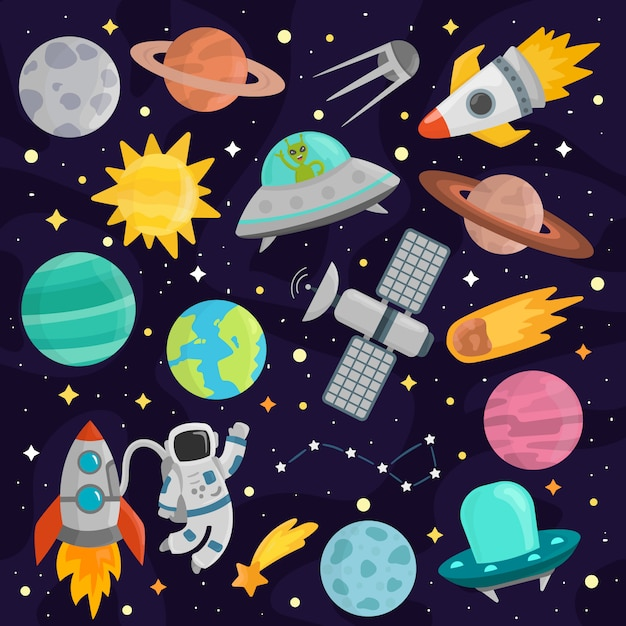 Space cartoon set vector. Premium Vector