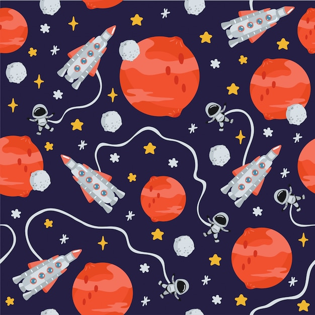 Space children's seamless pattern with planets, rocket in cartoon style. cute texture for kids room design Premium Vector
