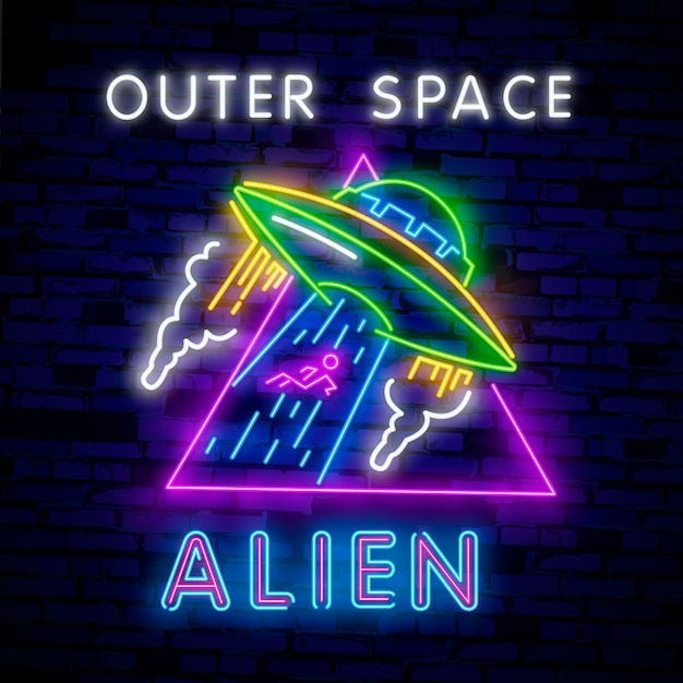 Space collection neon signs Premium Vector
