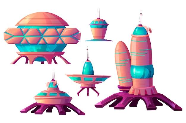 宇宙植民地化、エイリアンの宇宙船漫画 無料ベクター