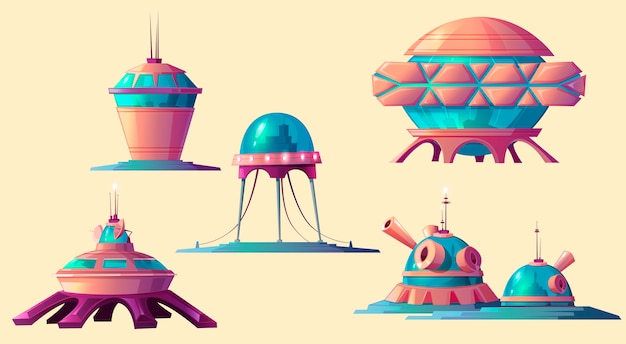 Space colonization, cosmic base elements set. Free Vector