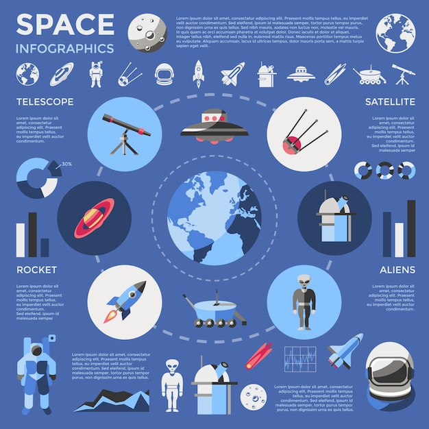 Space colored infographic Free Vector