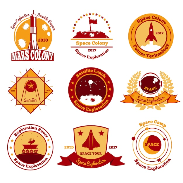Space colourful emblems collection Free Vector