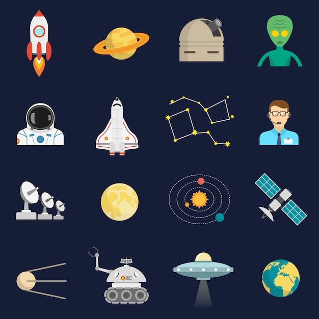 Space cosmos flat icons set Free Vector