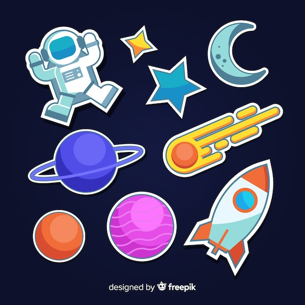 Space cute minimalist sticker collection Free Vector
