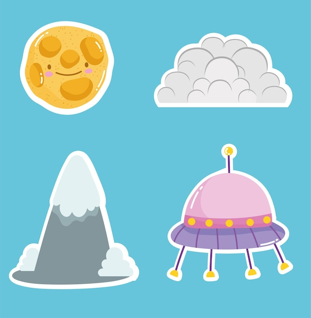 Space cute sticker ufo cloud and planet collection Premium Vector