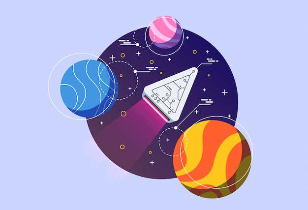 Space discovery illustration. Premium Vector
