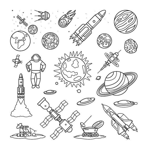 Space doodle linear icons Premium Vector