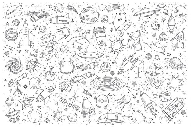 Space doodle set Premium Vector