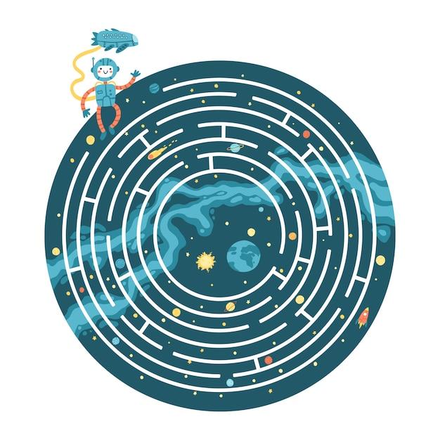 宇宙教育用迷路パズルゲーム。ゲーム、書籍の印刷、アプリ、教育に適しています。宇宙飛行士が地球に戻るのを手伝ってください。暗い背景に面白いシンプルな漫画イラスト Premiumベクター