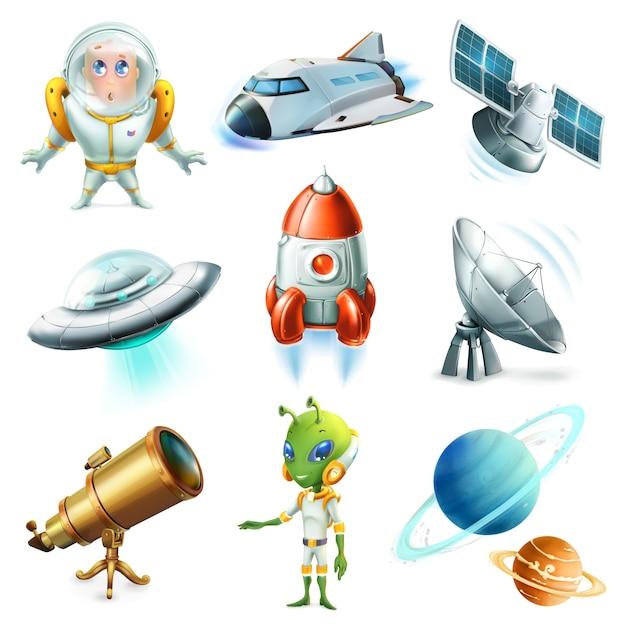 Space elements illustration set Premium Vector