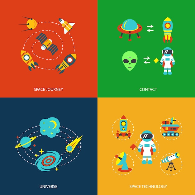 Space elements infographics Free Vector