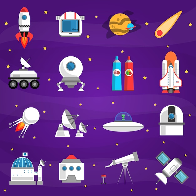 Space elements set Free Vector