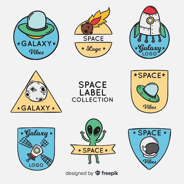 Space elements stickers Free Vector