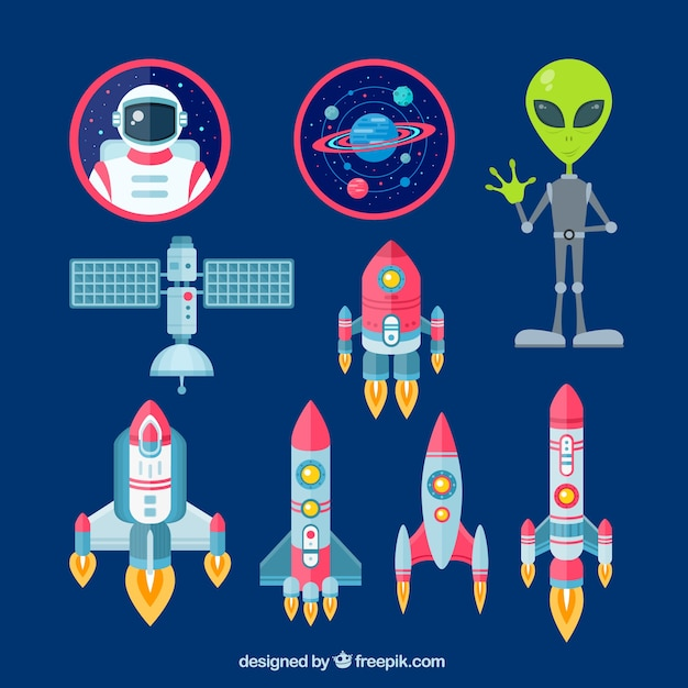 Space elements Free Vector