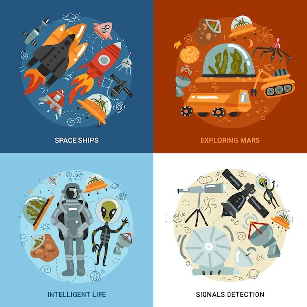 宇宙探査2x2デザインコンセプト 無料ベクター