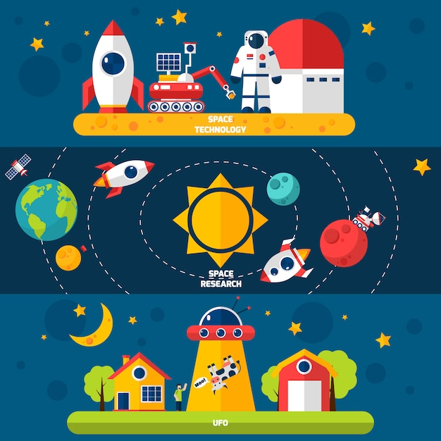 Space exploration 3 flat banners set Free Vector
