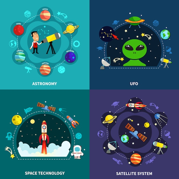 Space exploration concept icons set Free Vector