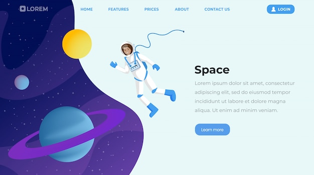 Space exploration flat landing page template Premium Vector