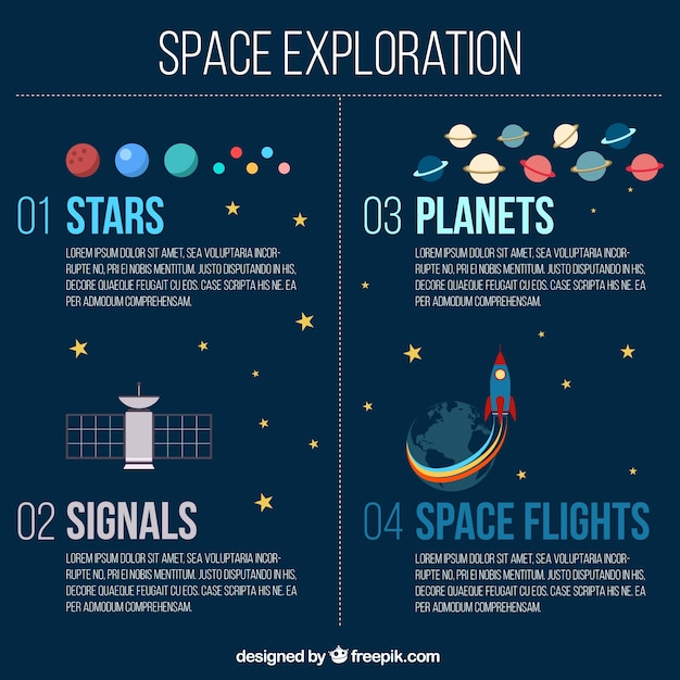 Space exploration infographic vector free download for What is space