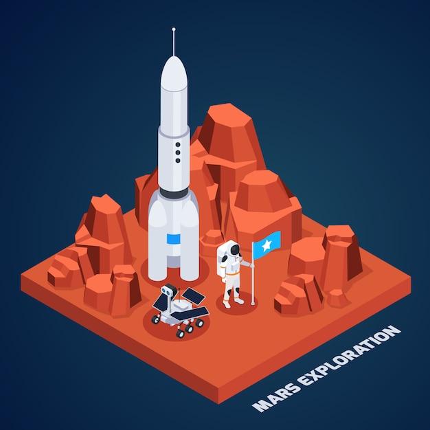 Composizione isometrica in esplorazione spaziale con il pezzo di terreno marziano con l'astronauta del razzo e rover con l'illustrazione di vettore del testo Vettore gratuito