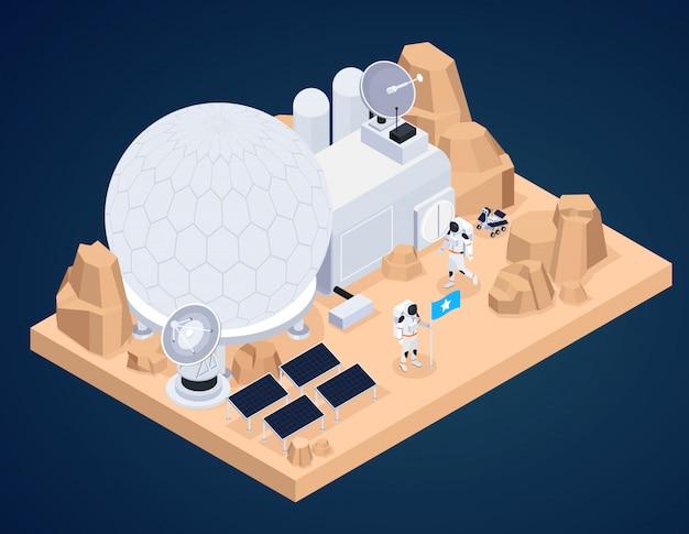 地球外地形と人間の作品と宇宙探査等尺性組成物は、宇宙飛行士の文字ベクトル図で建物を作った 無料ベクター