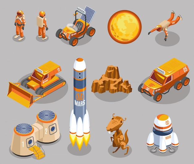 Space exploration isometric elements Free Vector