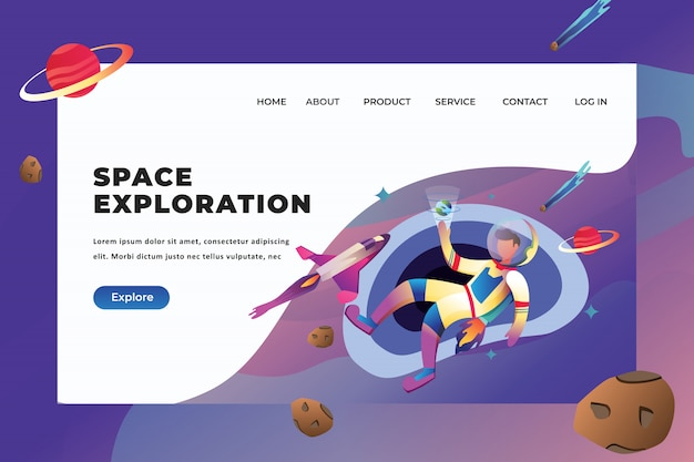 Space exploration landing page template Premium Vector